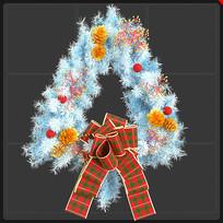 白色圣诞节花环蝴蝶结圣诞元素