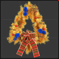 金色圣诞节花环蝴蝶结圣诞元素