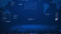 空间蓝色科技背景AE视频模板