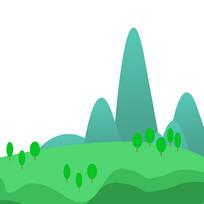 山水绿色植物草坪装饰元素 PSD