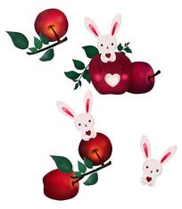 原创手绘可爱卡通苹果兔子