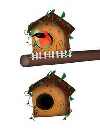 原创手绘可爱小房子鸟巢鸟