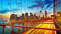 大都市吊桥车流交通视频素材