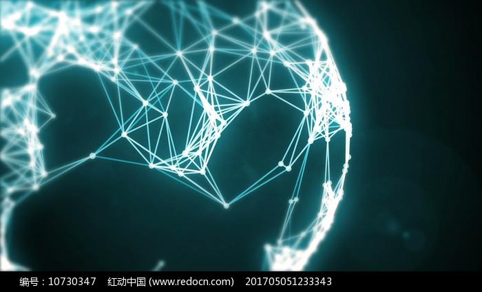 蓝色科技线条地球转动视频素材图片