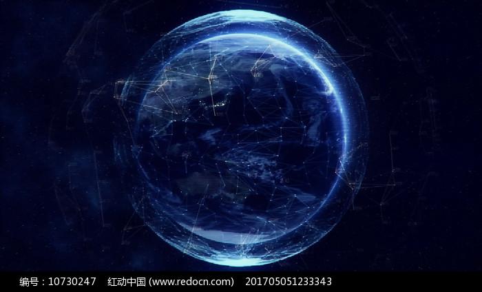 蓝色线条科技地球转动视频素材图片