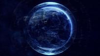 蓝色线条科技地球转动视频素材