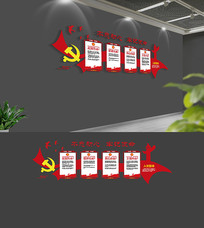 十九大党员活动室党建文化墙模板