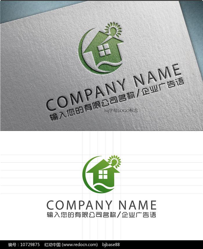 智能节能别墅绿叶LOGO标志设计图片