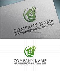 智能节能别墅绿叶LOGO标志设计