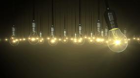电灯泡灯光亮起视频素材