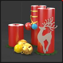 红色圣诞蜡烛铃铛装饰品圣诞节