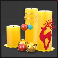黄色圣诞蜡烛铃铛麋鹿圣诞节装饰品