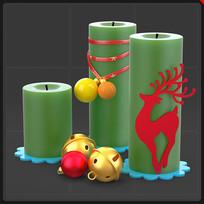 绿色圣诞蜡烛铃铛圣诞节装饰品