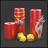圣诞节装饰品圣诞蜡烛铃铛麋鹿