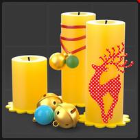 圣诞蜡烛铃铛麋鹿圣诞节装饰品