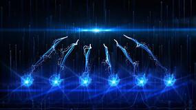 手掌粒子光线条汇聚启动仪式AE模版