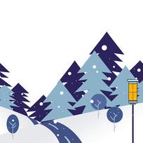 下雪雪景松树林植物冬季元素