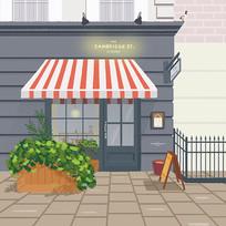 原创咖啡店街角插画