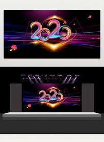 2020年企业年会主题舞台背景展板设计