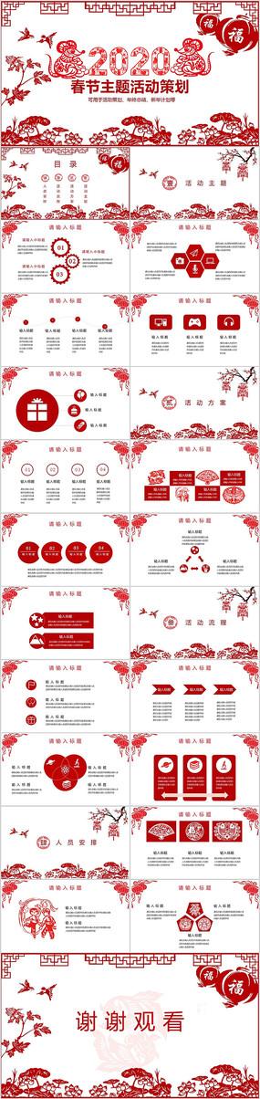 剪纸红色喜庆春节活动策划PPT模板