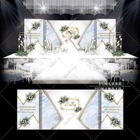 白蓝色大理石纹婚礼效果图设计浪漫婚庆舞台
