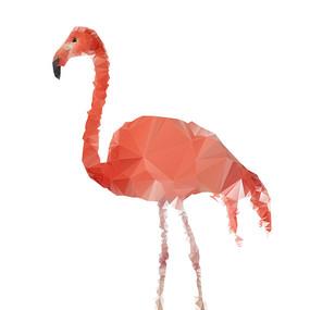低多边形动物火烈鸟元素
