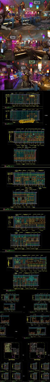 全套游戏主题餐厅CAD施工图 效果图