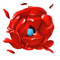 原创元素情人节玫瑰相依
