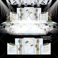 蓝灰色复古婚礼效果图设计大理石纹婚庆
