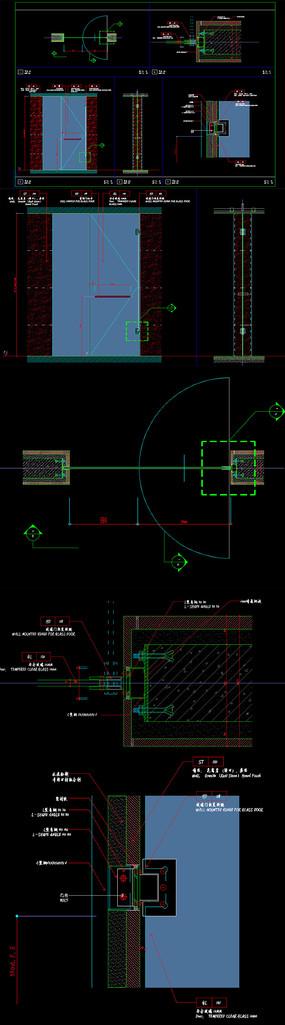 卫生间淋浴间玻璃门CAD节点图
