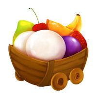 原创元素水果元宵车