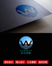 W字母山水LOGO设计