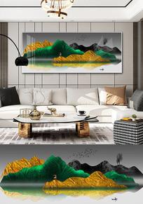 新中式轻奢抽象金色山水客厅装饰画