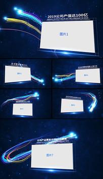 蓝色粒子光线穿梭企业历程图文展示AE视频模板