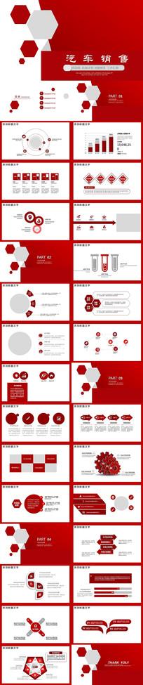 红色创意汽车销售PPT模板
