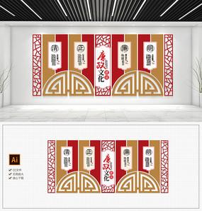 大型中国风古典党建文化墙廉政文化墙