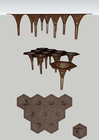 木质异形公园构筑物公园景观小品su模型