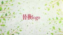 清新绿叶汇聚环保logo标志片头pr模板