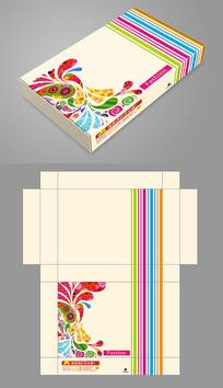 时尚彩色花纹服装飞机盒