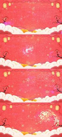 简约中国风剪纸风新年舞台晚会背景视频模板