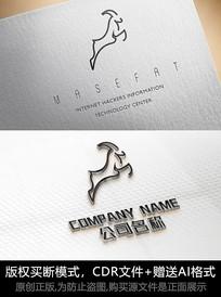 简约鹿logo标志商标设计