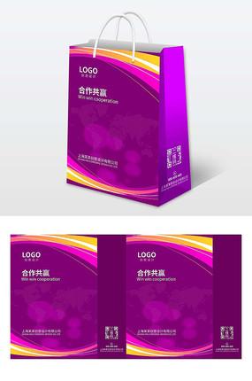 大气紫色企业公司商务手提袋设计