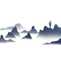水墨山水装饰云雾缭绕元素