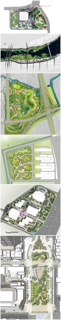 滨水公园广场景观设计设计平面图psd后期