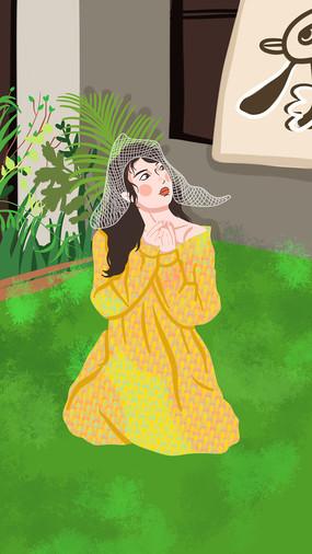 绿色植物与美女在草地上拍照的美女