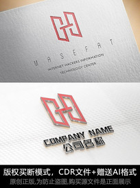 H字母logo标志字母商标设计