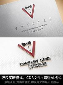 V字母logo标志男装商标设计