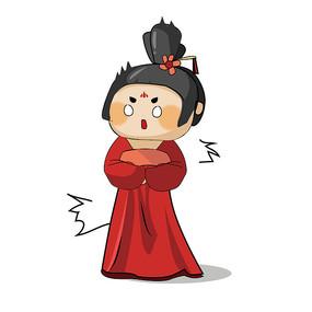 红衣服的日本艺伎表情包元素