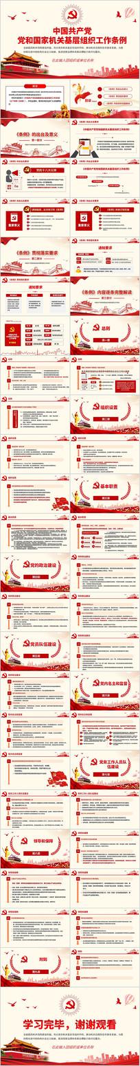 中国共产党党和国家机关基层组织工作条例PPT