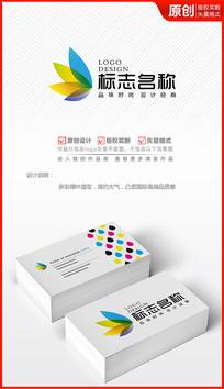 多彩科技绿叶logo商标志设计